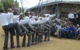 Mashai students performing Mohobelo dance